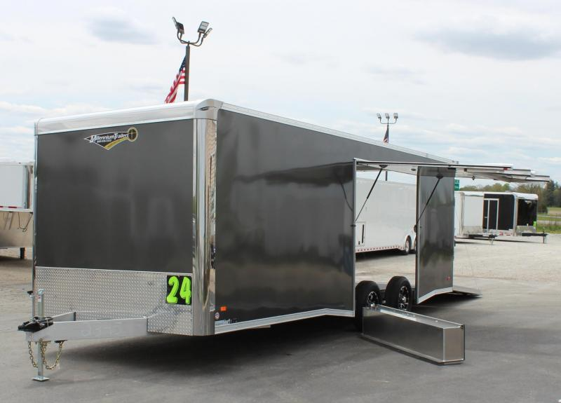 <b>NEED EASY EXIT ACCESS?</b> 24' Charcoal Aluminum Millennium Extreme Lite with Removable Fender/Spread Axles/Rear