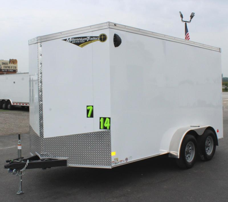 "<b>MORE ON ORDER!</b> 2021 7'x14' V-Nose Millennium Transport Cargo w/Ramp Door/ Slant Nose Option / 6"" Extra High"