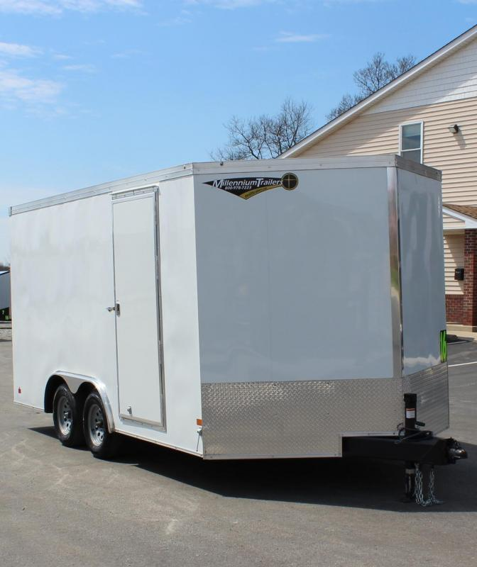 """8.5' x 16' Grizzly V-Nose Enclosed Trailer w/Ramp Door 6"""" Extra High"""