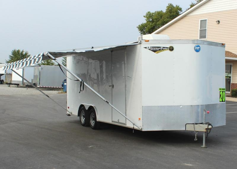 <b>PRE-OWNED JUST ARRIVED</b> 2013 20' Wells Cargo RFV Car Trailer A/C & Awning
