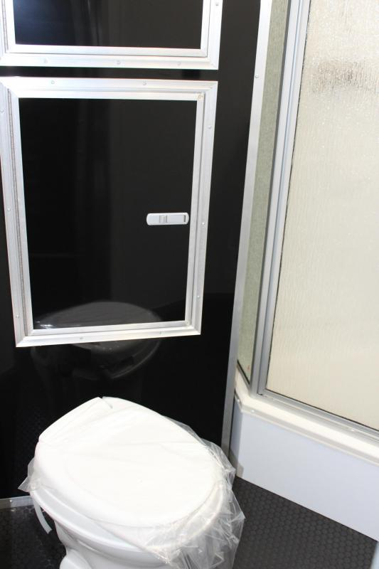 <b>Now Available</b> Full Bathroom w/Corner Shower  2020 44' Millennium Platinum Perfect Price/Perfect Options Black Cabinets
