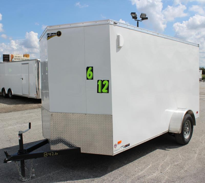 2019 6'x12' Scout White Enclosed Cargo Trailer Plus Pkg & Free Options