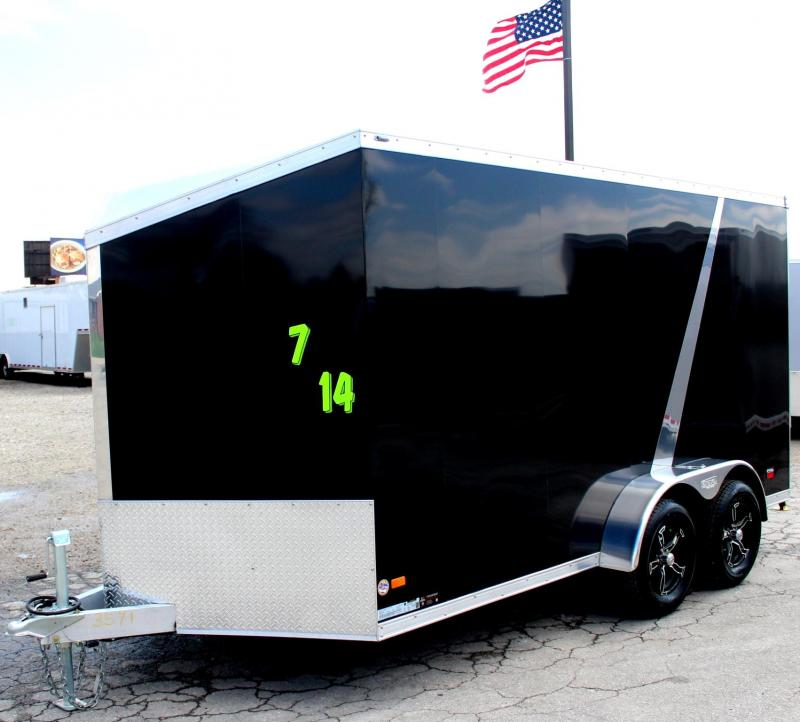 ALL ALUMINUM 7'x14' Scout Black w/Motorcycle  Pkg. 6 Extra High Liger Alum Wheels PLUS Free Upgrades