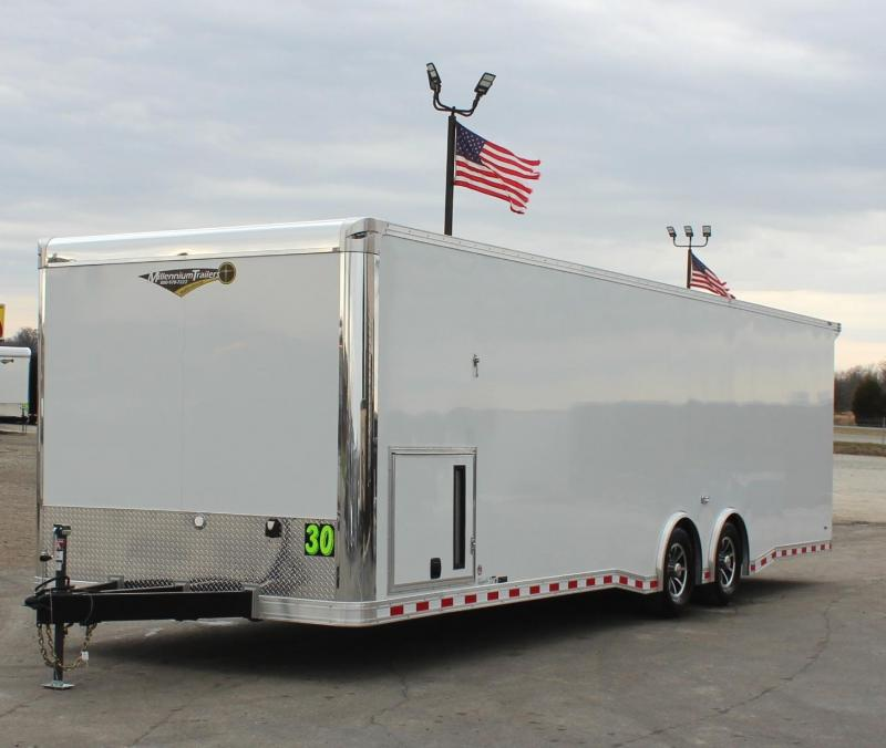 <b>NOW AVAILABLE</b>  2021 WHITE 30' Millennium Extreme Car Hauler w/Wing/Finished Interior/Spread Axles & More!