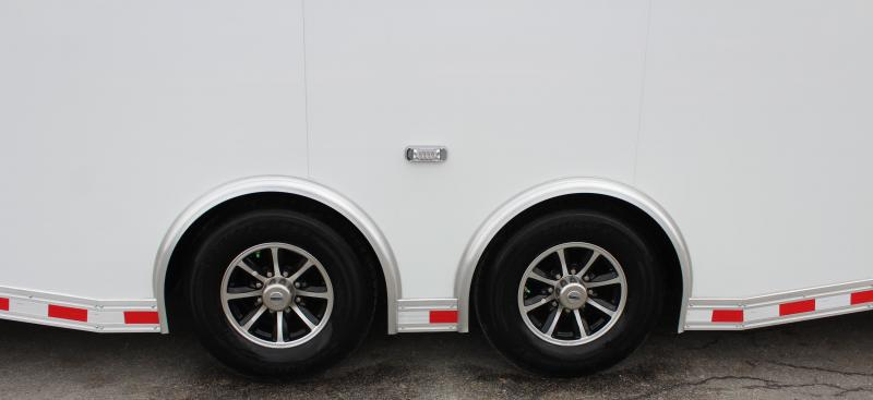 <b>REDUCED</b> NOW AVAILABLE  2021 WHITE 30' Millennium Extreme Car Hauler w/Wing/Finished Interior/Spread Axles & More!