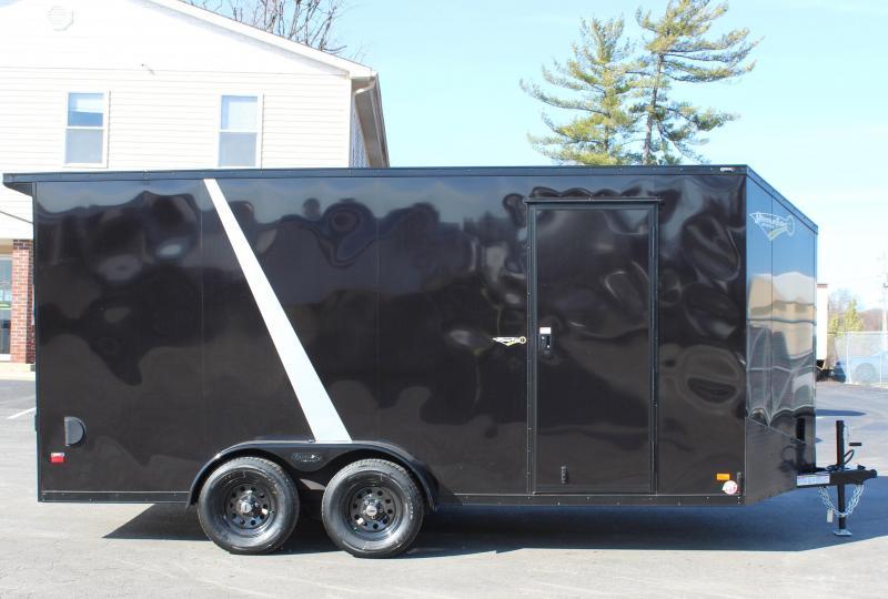 BLACK-OUT PKG & REAR WING 2021 7'x16' Millennium Scout Cargo Trailer w/Ramp Door