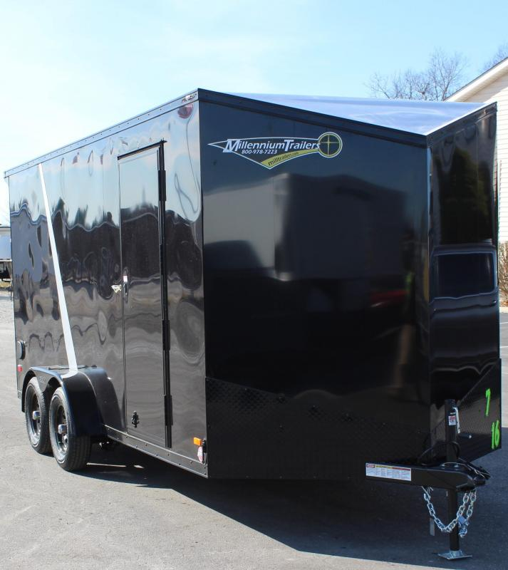 BLACK-OUT PKG & REAR WING 2021 7'x16' Millennium Scout Cargo Trailer w/Ramp Door