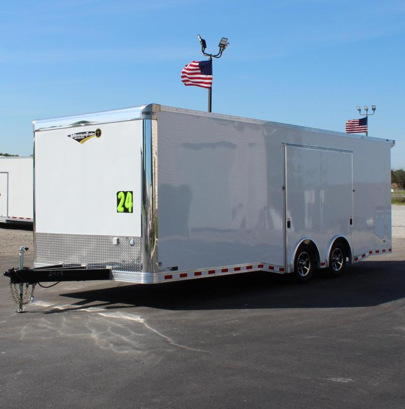 <b>SALE PENDING Easy-Exit Trailer</b> 2020 24' White Millennium Extreme with Removable Fender  & Rear Wing