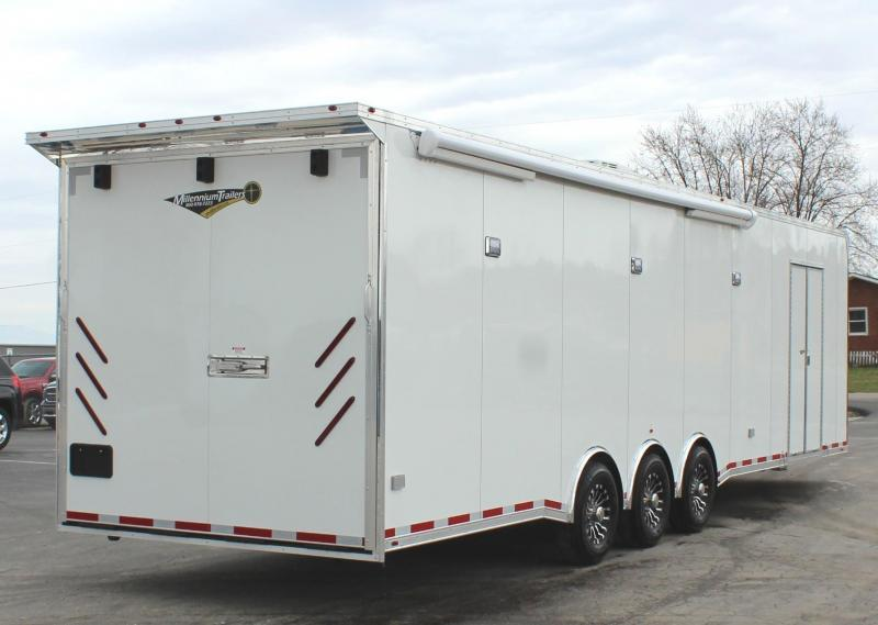<b>NOW AVAILABLE</b>  Full Bathroom/ Electric Awning & A/C SUPER SHARP 2021 34' Millennium Platinum Race Trailer