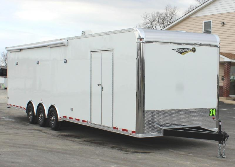 <b> READY IN APRIL Full Bathroom/ Electric Awning & A/C</b> SUPER SHARP 2021 34' Millennium Platinum Race Trailer