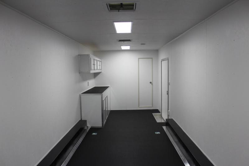 <b>Track Ready</b> 2020 48' Millennium Silver Enclosed Gooseneck Trailer w/12' Sofa Living Quarters w/King Size Bath