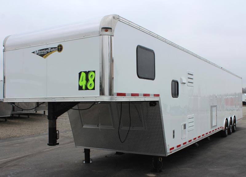 <b>Track Ready</b> 2020 48' Millennium Silver Enclosed Gooseneck Trailer w/12' Sofa Living Quarters w/King Size Bath
