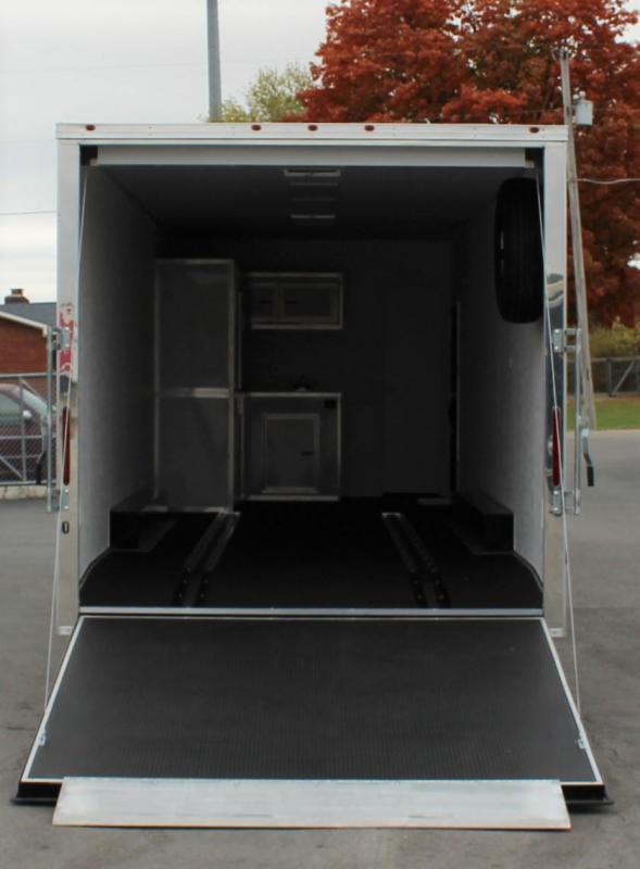 <b>IN PROCESS SPECIAL</b> MINI LQ  2022 40' Millennium Silver Gooseneck Enclosed Race Car Trailer w/Partial Living Quarters