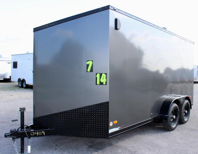 <b>BLACK OUT TRIM PKG</B> 7'x14' Scout Cargo Trailer w/Ramp Door Free Options