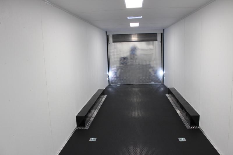 SALE PENDING 2021 40' Millennium Silver Gooseneck Race Trailer .040 Screwless Ext./Hydraulic Jack/Cabinets