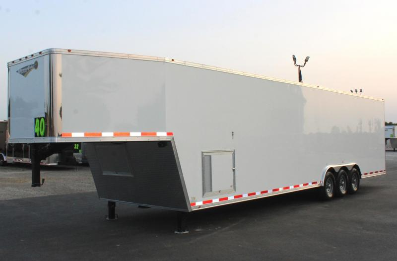 NOW READY! 2021 40' Millennium Silver Gooseneck Race Trailer .040 Screwless Ext./Hydraulic Jack/Cabinets