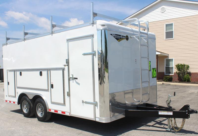 Call For Details Contractor's Dream Trailer 8.5 x 16' 2020 Millennium Work Mate Enclosed Cargo Trailer