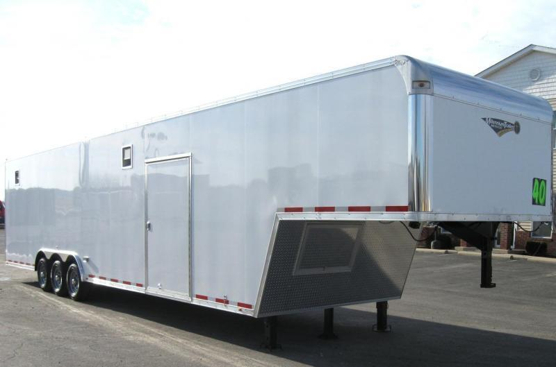 2020 40' Millennium Silver Enclosed Gooseneck Race Trailer .040 Screwless Ext./Hydraulic Jack/Cabinets