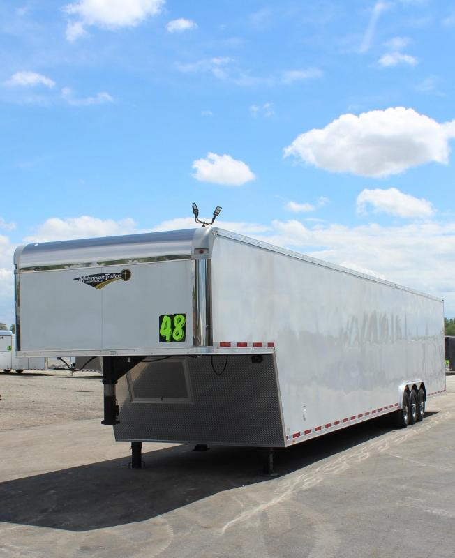 160' DBLE ROW RECESSED E-TRACK 2021 48' Millennium Silver Gooseneck  Wide Ramp Door Triple 7K Axles