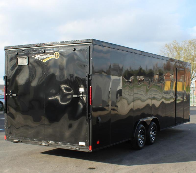 <b>SOLD MAKING MORE!</b> Black w/Black Out Pkg. 2021 24' Transport V-Nose Car Trailer White Walls & Ceiling Aluminum Wheels