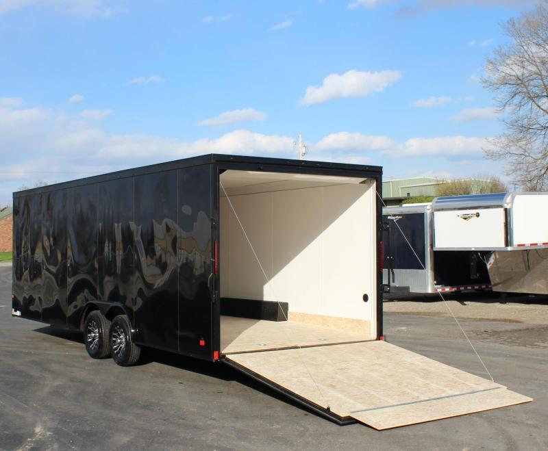 <b>READY SOON</b> Black w/Black Out Pkg. 2021 24' Transport V-Nose Car Trailer White Walls & Ceiling Aluminum Wheels