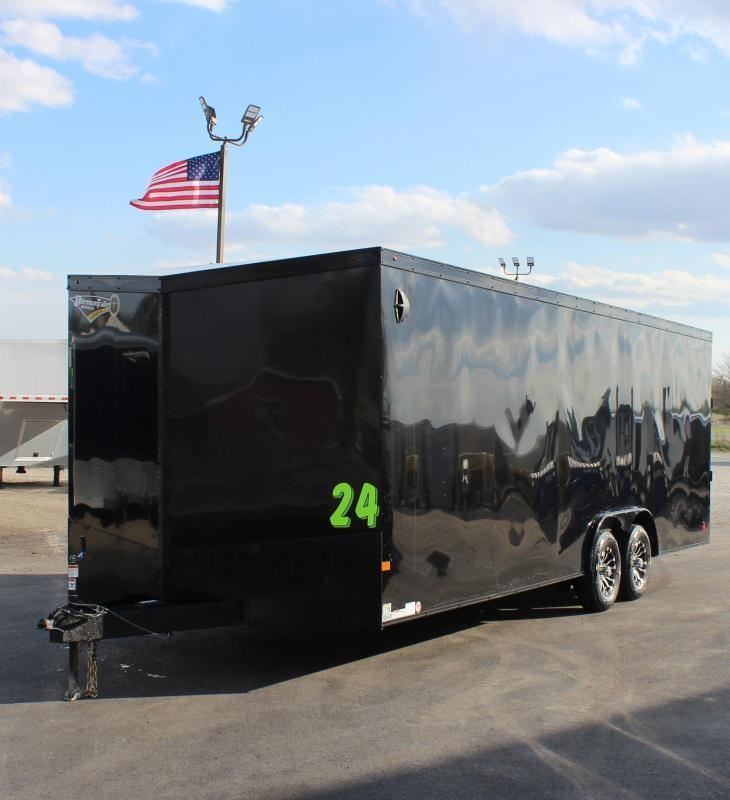 <b>DUE OUT SOON! BLACK EXTERIOR w/BLACK-OUT PKG</b> 2021 24' Transport Slant V  Nose Car Trailer White Walls & Ceiling
