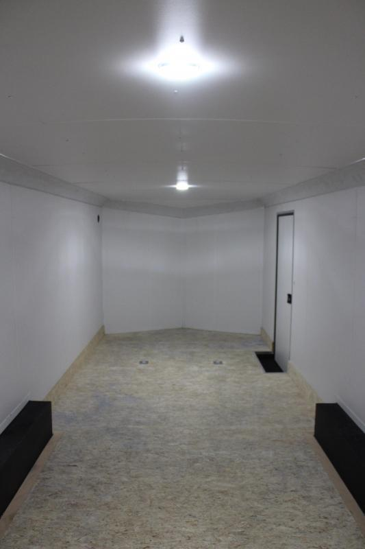 <b>DUE OUT SOON! BLACK EXTERIOR w/BLACK-OUT PKG</b> 2021 24' Transport Slant V  Nose Car Trailer White Walls & Ceiling