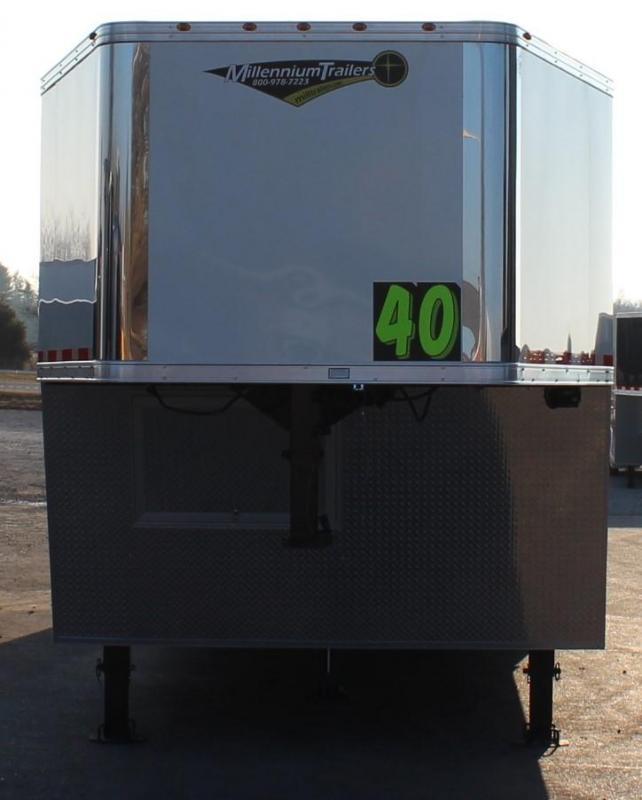 2021 40' Millennium Silver Gooseneck Race Trailer .040 Screwless Ext./Hydraulic Jack/Cabinets