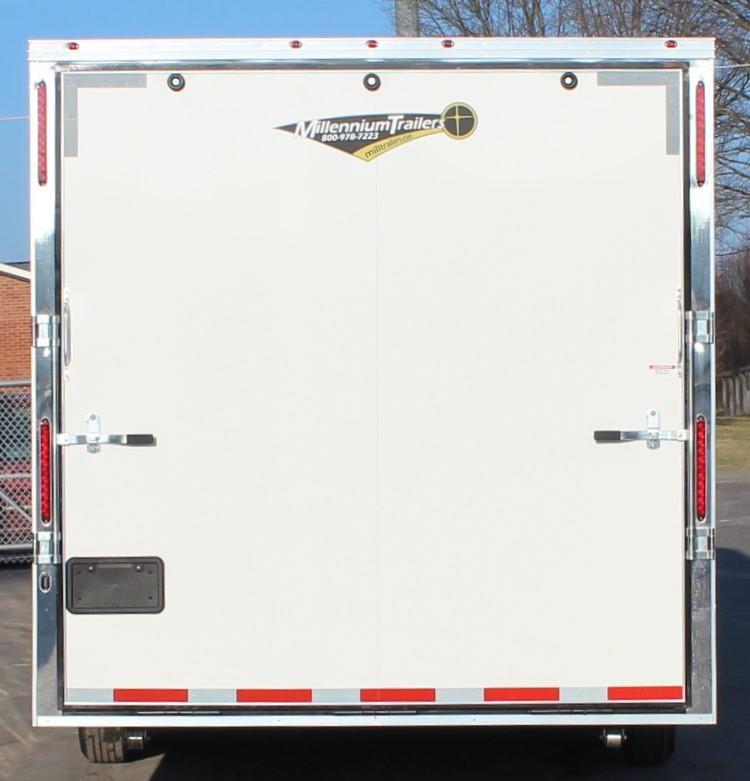<b>NOW AVAILABLE</b>2021 40' Millennium Silver Gooseneck Race Trailer .040 Screwless Ext./Hydraulic Jack/Cabinets