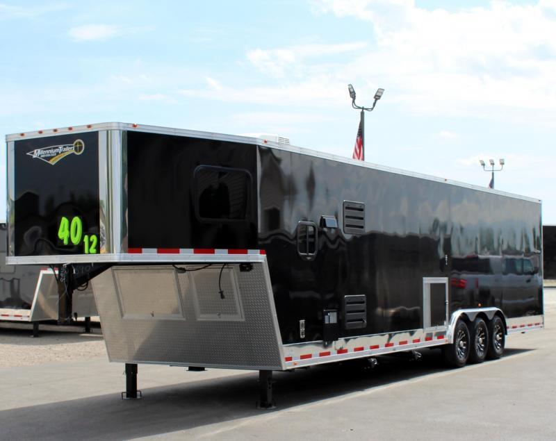 Ready 5/5 LQ 2021 40' Millennium Race Car Gooseneck Trailer w/12' Sofa Living Quarters/King Size Bath