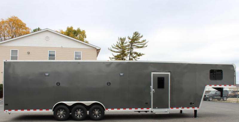 <b>WEEKLY SPECIAL</b> SUPER NICE MINI LQ  2021 40' Millennium Silver Gooseneck Enclosed Race Car Trailer w/Partial Living Quarters