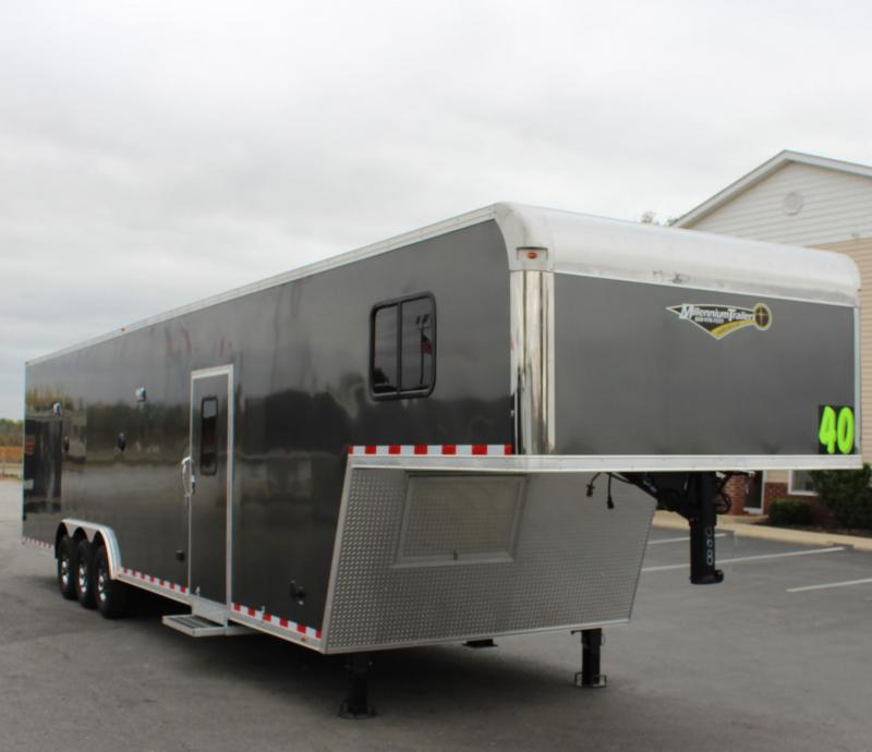 <b>SALE PENDING BLOW-OUT PRICING!</b>  SUPER NICE MINI LQ  2021 40' Millennium Silver Gooseneck Enclosed Race Car Trailer w/Partial Living Quarters