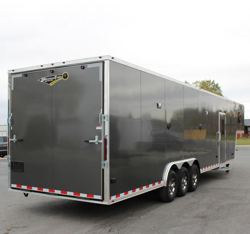SALE PENDING MAKING MORE! SUPER NICE MINI LQ  2021 40' Millennium Silver Gooseneck Enclosed Race Car Trailer w/Partial Living Quarters