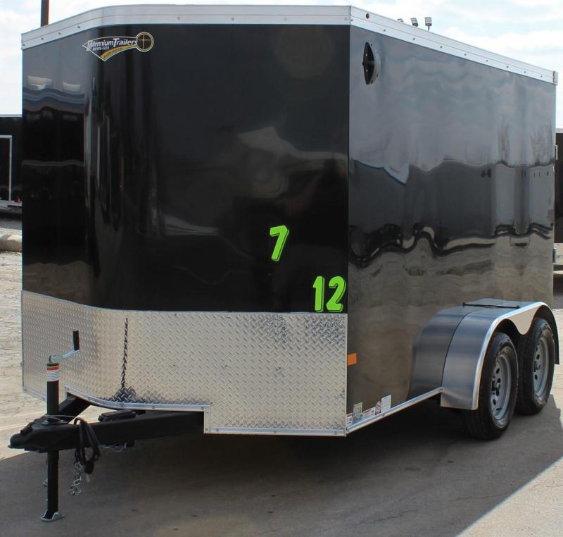 2020 Tandem 7'x12' V-Nose Millennium Transport Cargo Trailer