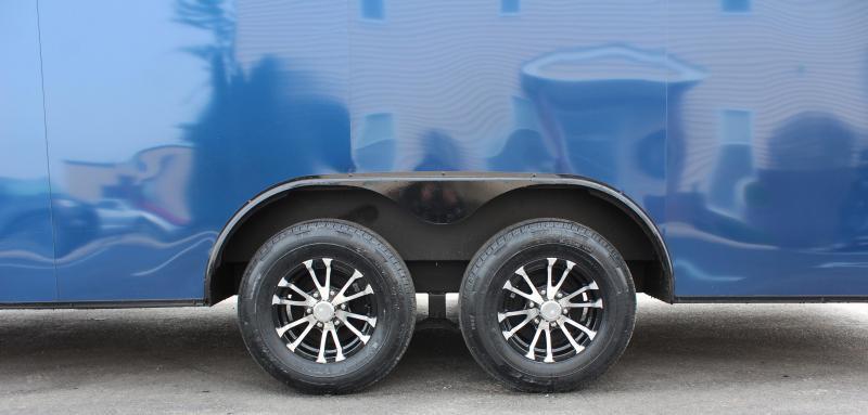 <b>IN PROCESS SPECIAL</b>  INDIGO BLUE w/BLACK-OUT PKG 2022 24' Transport V-Nose Car Trailer White Walls & Ceiling Aluminum Wheels!