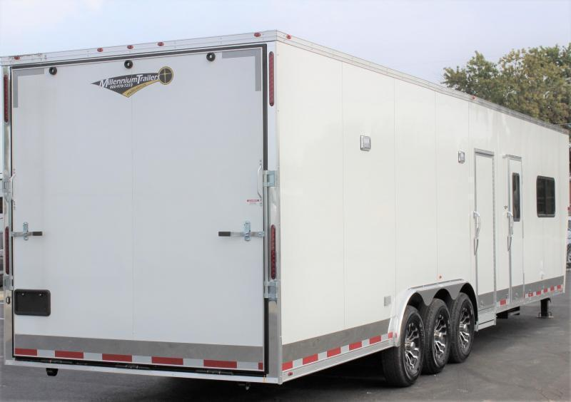 <b>NOW READY</b> 2021 40' Millennium Silver Enclosed Gooseneck Trailer w/12' Sofa Living Quarters/King Size Bath