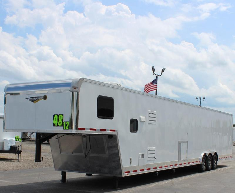 REDUCED SPECIAL LQ w/DRAGSTER PACKAGE 2020 48' Millennium Silver Gooseneck w/12S + 8' Premium Living Quarters
