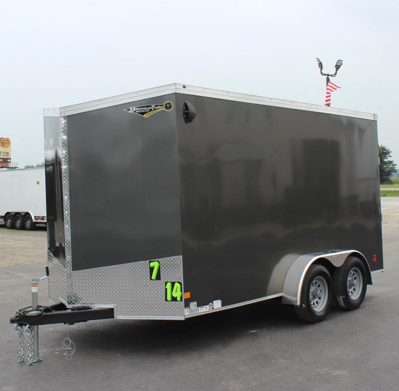"7'x14' V-Nose Millennium Transport Cargo w/Ramp Door/ Slant Nose Option / 6"" Extra High"