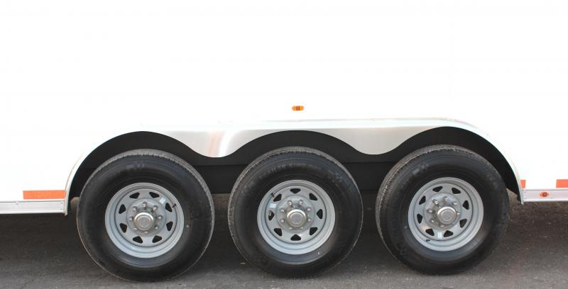 NOW READY!  2021 44' Millennium Silver Gooseneck w/Tapered Nose  .040 Screwless Ext./Hydraulic Jack/Cabinets