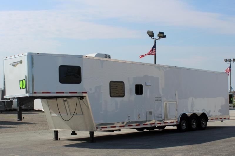 40' Millennium Silver Enclosed Gooseneck Race Car Trailer w/12'XE Living Quarters