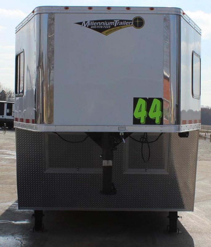 <b>READY 8/13</b> 2022 44' Millennium Race Car Trailer w/Premium LQ 12'+8' Dinette 3/Lrg. Bath & Corner Shower