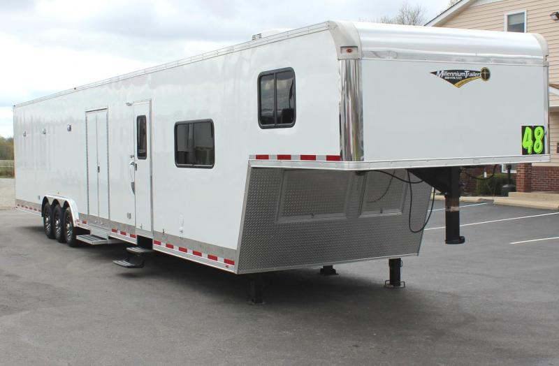 <b>ALL 2020's BLOW-OUT SALE</b>  NOW $57699 48' Millennium Silver Gooseneck w/12' Sofa + 8' Living Quarters DRAGSTER PACKAGE
