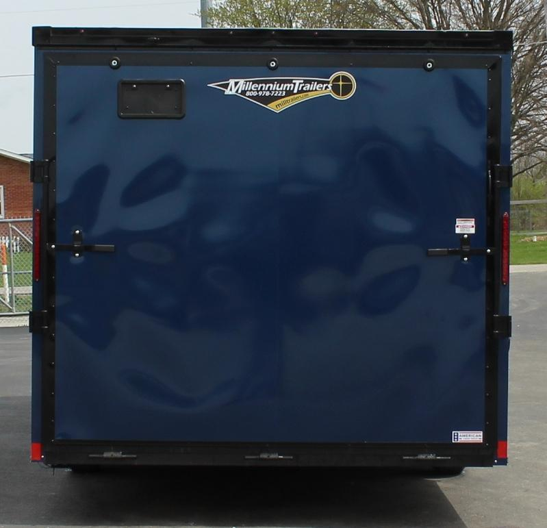 <b>READY SOON</b> INDIGO BLUE w/BLACK-OUT PKG 2021 24' Transport V-Nose Car Trailer White Walls & Ceiling Aluminum Wheels!