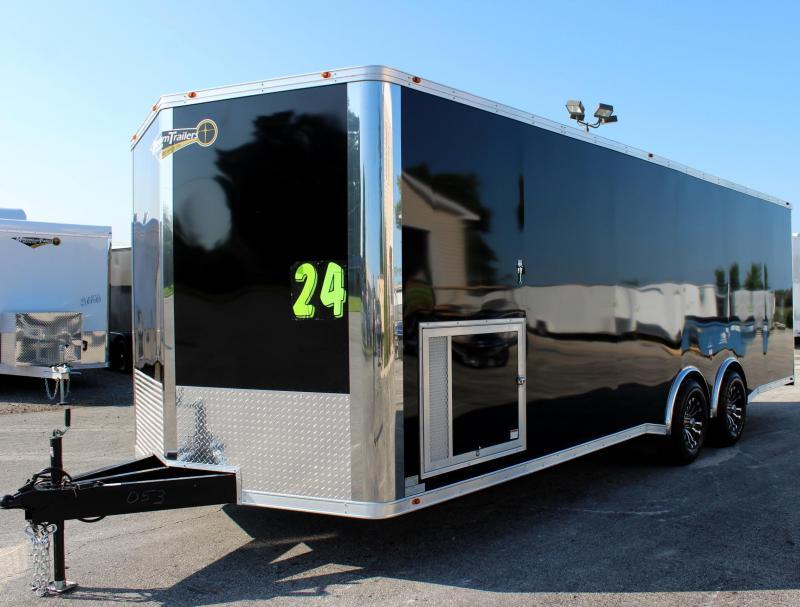 24' Black Millennium Silver Spread Axle V-Nose Enclosed Trailer w/Gold Pkg.