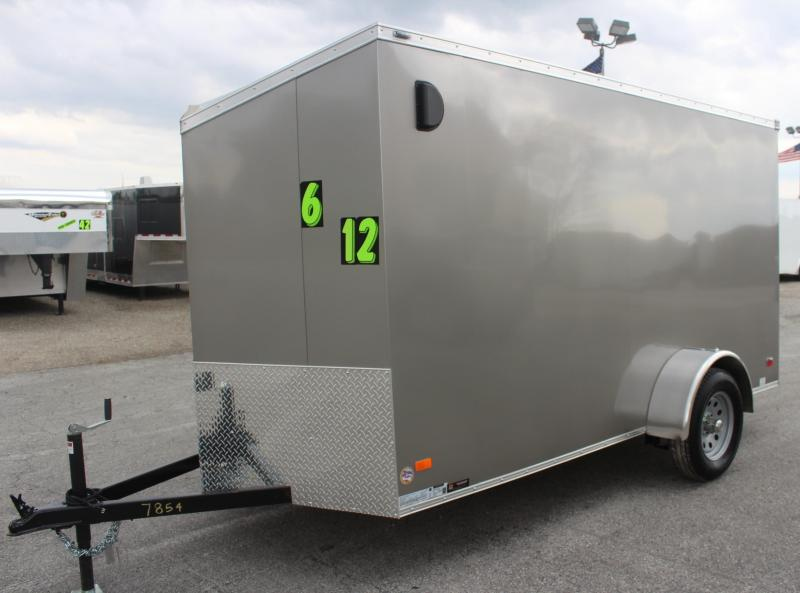 6'x12' Scout Pewter Metallic Cargo Trailer Plus Pkg & Free Options