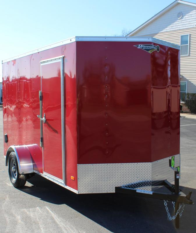 "Red 6'x12' Hero Enclosed Cargo Trailer Ramp Door & 6"" Extra High"