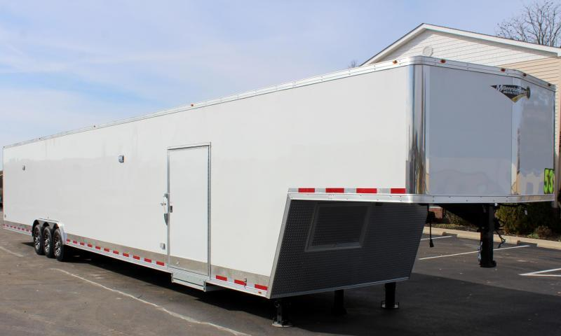 <b>  NOW READY</b> 2020 53' Millennium Silver Gooseneck Enclosed Trailer/ 90' Rec. E-Track Finished Int.
