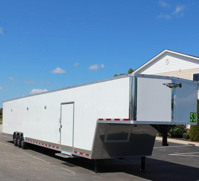 <b>REDUCED SPECIAL</b>  53' Millennium Silver Gooseneck Enclosed Trailer/ 90' Rec. E-Track Finished Int.