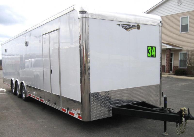34' Millennium Enclosed Car Trailer Tri-axle Spread Axle with Large Front Full Bathroom