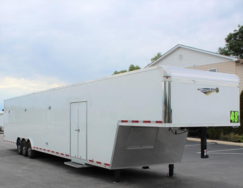 <b>NOW READY</b> LOADED GOOSENECK 2021 48' Millennium Trailers Platinum Car Hauler